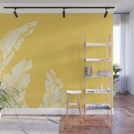 Banana Leaves on Yellow #society6 #decor #buyart Wall Mural