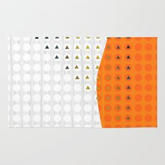 Orange and White Wavy Geometric Dot and Triangle Rug