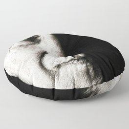 Black and white painting - Man with one green eye - Jeanpaul Ferro Floor Pillow