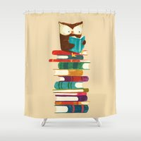 literature Shower Curtains featuring Owl Reading Rainbow by Picomodi