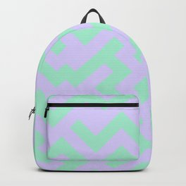 Magic Mint Green and Pale Lavender Violet Diagonal Labyrinth Backpack