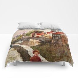 Vintage retro style Bruges travel advertising Comforters