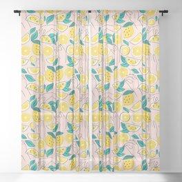 In Lemons We Trust #pattern #illustration Sheer Curtain