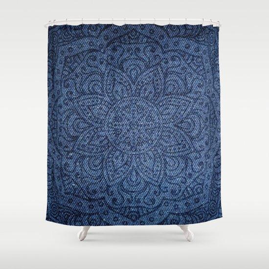 Mandala On Blue Jeans Shower Curtain By Mantra Mandala