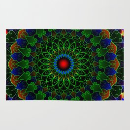 Neon cycle mandala Rug