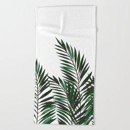 Palm Leaves Green Beach Towel