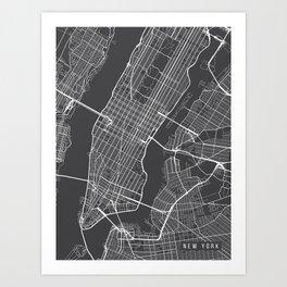 New York City Map, Manhattan New York USA - Charcoal Portrait Art Print