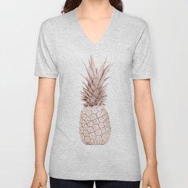 Pineapple Rose Gold Unisex V-Neck