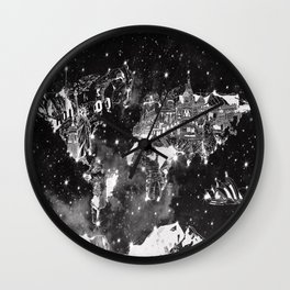 world map galaxy black and white Wall Clock