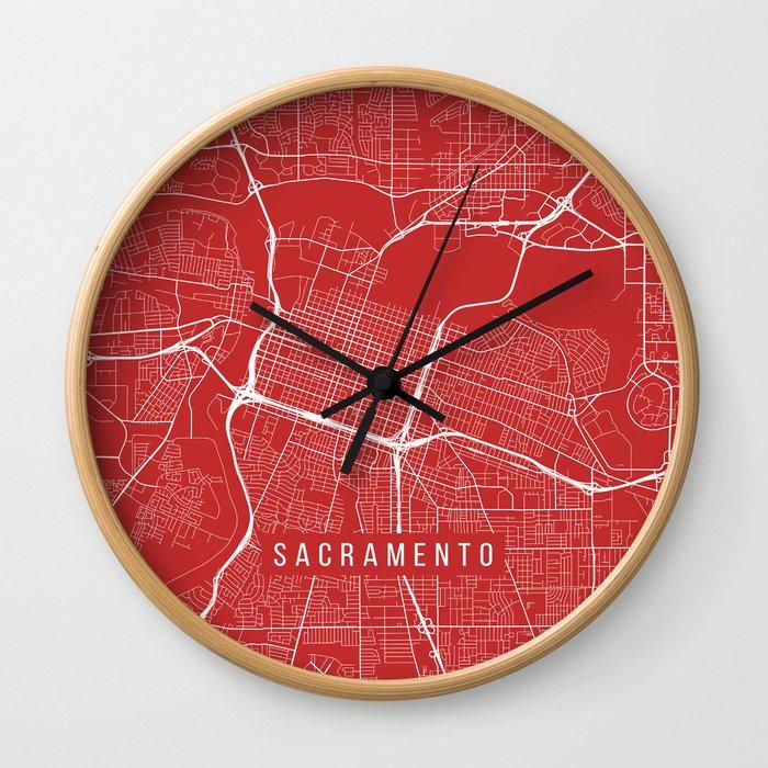 Sacramento Map, USA - Red Wall Clock