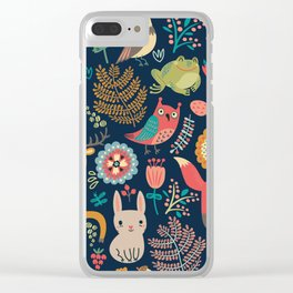 Blue Woodland Critters Pattern Clear iPhone Case