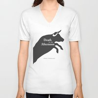 hemingway V-neck T-shirts featuring Ernest Hemingway book Cover & Poster - Death in the Afternoon by Stefanoreves