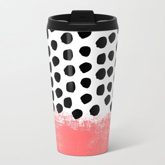 Lola - painted dot minimal coral black and white trendy abstract home decor Metal Travel Mug