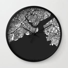 Istanbul Map Gray Wall Clock