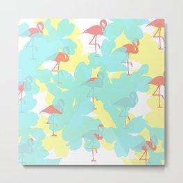 Primroses and flamingos Metal Print