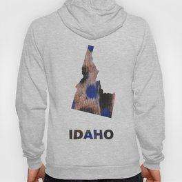 Idaho map outline Black Blue colorful watercolor texture Hoody