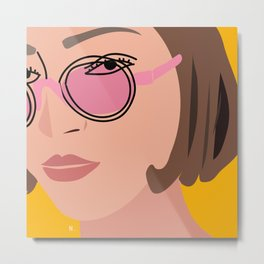 Pink glasses illustration Metal Print