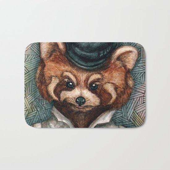 Cute Red Panda in Bowler hat Bath Mat