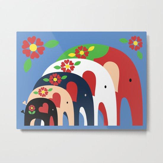 Dala Elephants Metal Print