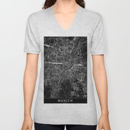 Munich Black Map Unisex V-Neck