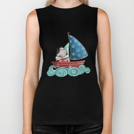 Sailor Cat Illustration Biker Tank