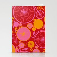 bikes Stationery Cards featuring Bikes by Helene Michau