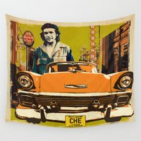 che Wall Tapestries featuring Retro Cuba design with car & Che Guevara by Andras Balogh
