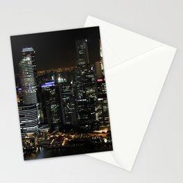 city at night lights skyline Stationery Cards
