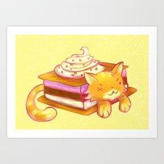 Ice sandwich cat Art Print