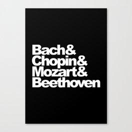 Bach and Chopin and Mozart and Beethoven, black bg Canvas Print