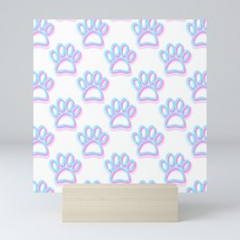 Pink And Blue Neon Dog Paw Prints Mini Art Print