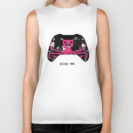 Pink Octo says Play Me Biker Tank