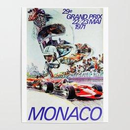 Gran Prix de Monaco, 1971, original vintage poster Poster