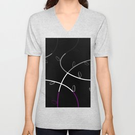 Jagged leaves, asexual pride flag Unisex V-Neck
