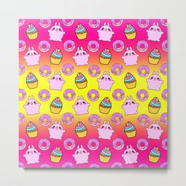 Cute funny Kawaii chibi little playful baby bunnies, happy sweet donuts and adorable colorful yummy cupcakes sunny bright yellow and raspberry pink seamless pattern design. Metal Print
