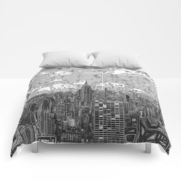 new york city skyline black and white Comforters