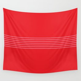 Fine Pink Lines on Red Wall Tapestry