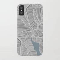 gray pattern iPhone & iPod Cases featuring Gray Roses Pattern - Blue  by Sweet Karalina