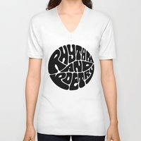 rap V-neck T-shirts featuring Rap by guissëpi