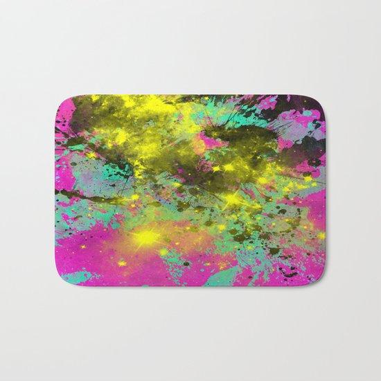 Stargazer - Abstract cyan, black, purple and yellow oil painting Bath Mat