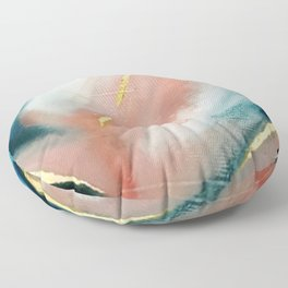 Celestial [3]: a minimal abstract mixed-media piece in Pink, Blue, and gold by Alyssa Hamilton Art Floor Pillow