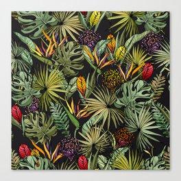 Tropical pattern on black Canvas Print