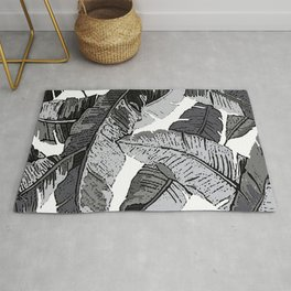BANANA PALM LEAF PARADISE BLACK AND WHITE GRAY  PATTERN Rug
