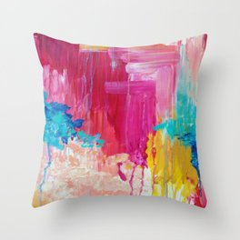ELATED - Beautiful Bright Colorful Modern Abstract Painting Wild Rainbow Pastel Pink Color Throw Pillow