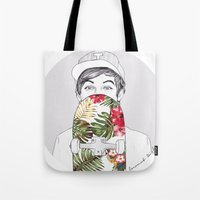coconutwishes Tote Bags featuring L Skate by Coconut Wishes