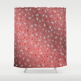 pink,silver,dollar, symbol in shiny metall textur Shower Curtain
