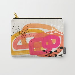 Mid Century Modern Abstract Colorful Art Ombre Magenta Yellow Circles Raindrops Geometric Pattern Carry-All Pouch