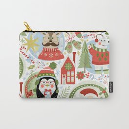Holiday Christmas Winter Wonderland with Hipster Santa Reindeer Polar Bears and Penguins Carry-All Pouch