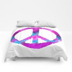 Purple Blue Watercolor Peace Sign Comforters