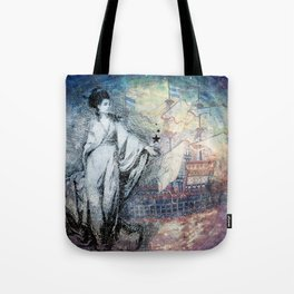 Inspire - A muse and her ship of dreams collage Tote Bag